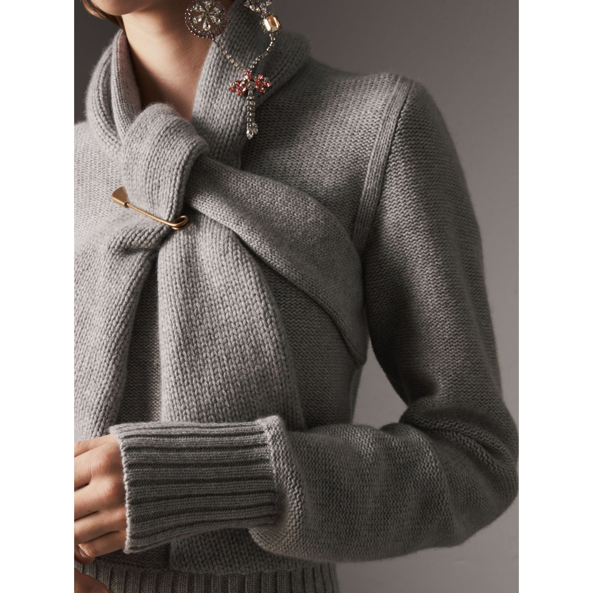 Cashmere Tie-neck Sweater in Pale Grey Melange - Women | Burberry United Kingdom - gallery image 1