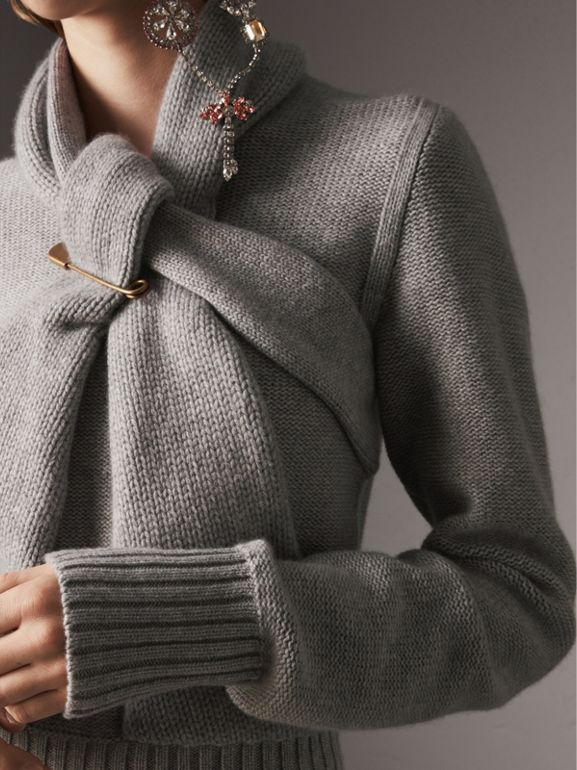 Cashmere Tie-neck Sweater in Pale Grey Melange - Women | Burberry - cell image 1