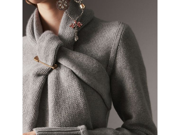 Cashmere Tie-neck Sweater in Pale Grey Melange - Women | Burberry United Kingdom - cell image 1