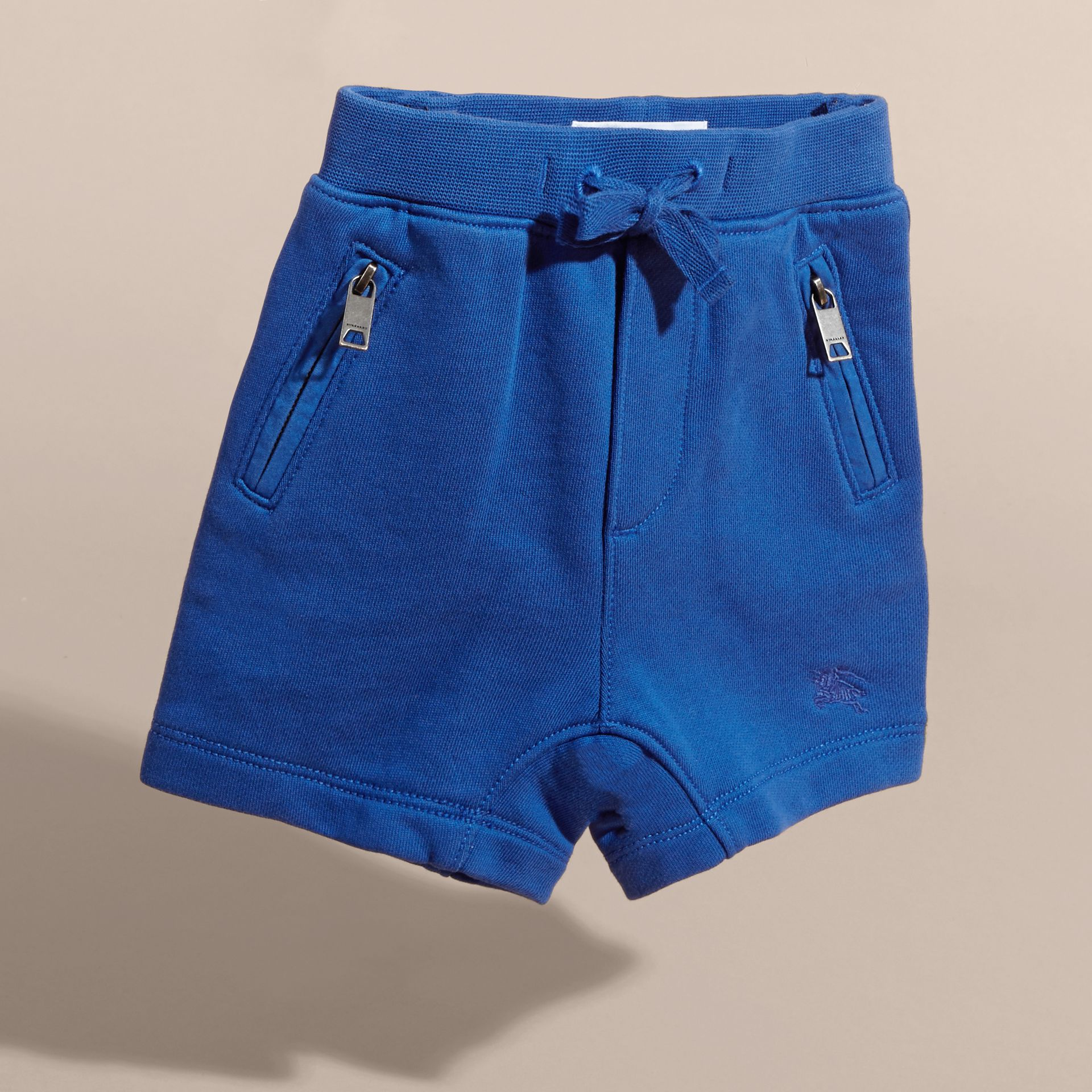 Cotton Jersey Drawcord Shorts in Brilliant Blue | Burberry - gallery image 3