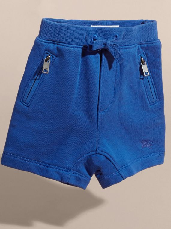 Cotton Jersey Drawcord Shorts in Brilliant Blue | Burberry - cell image 2
