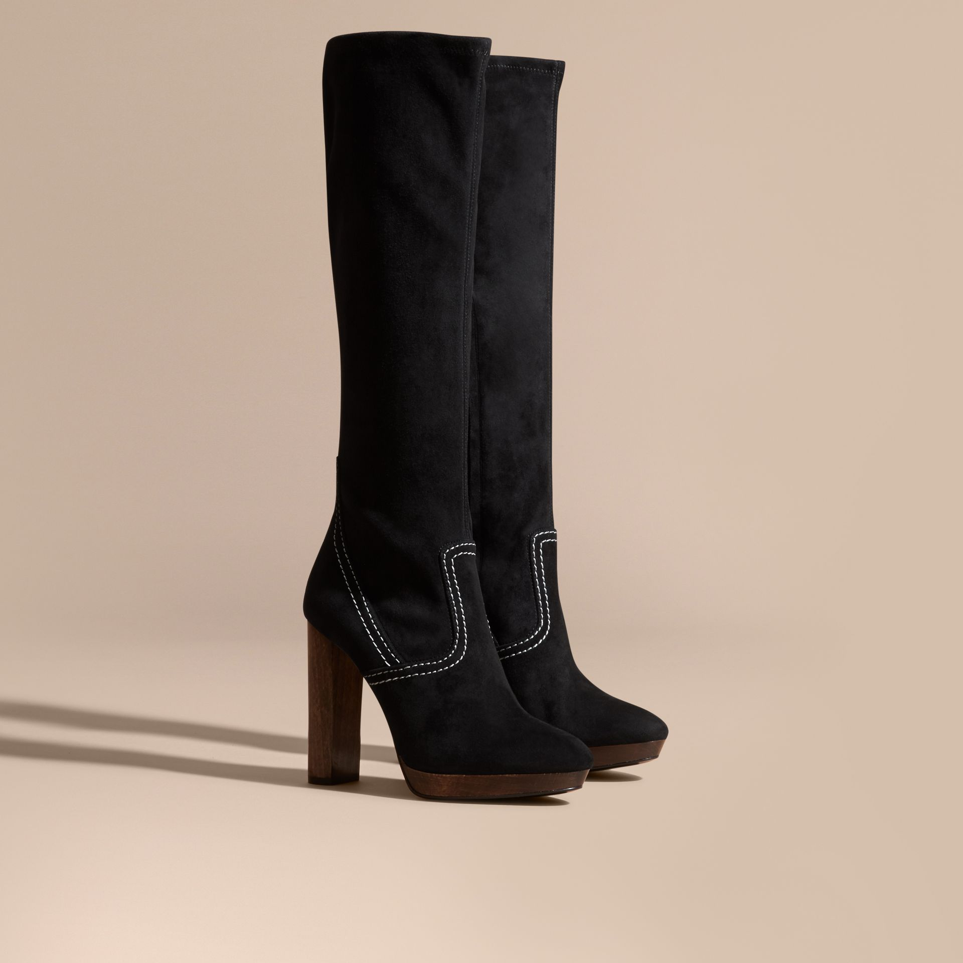 Black Topstitch Detail Knee-high Suede Platform Boots - gallery image 1