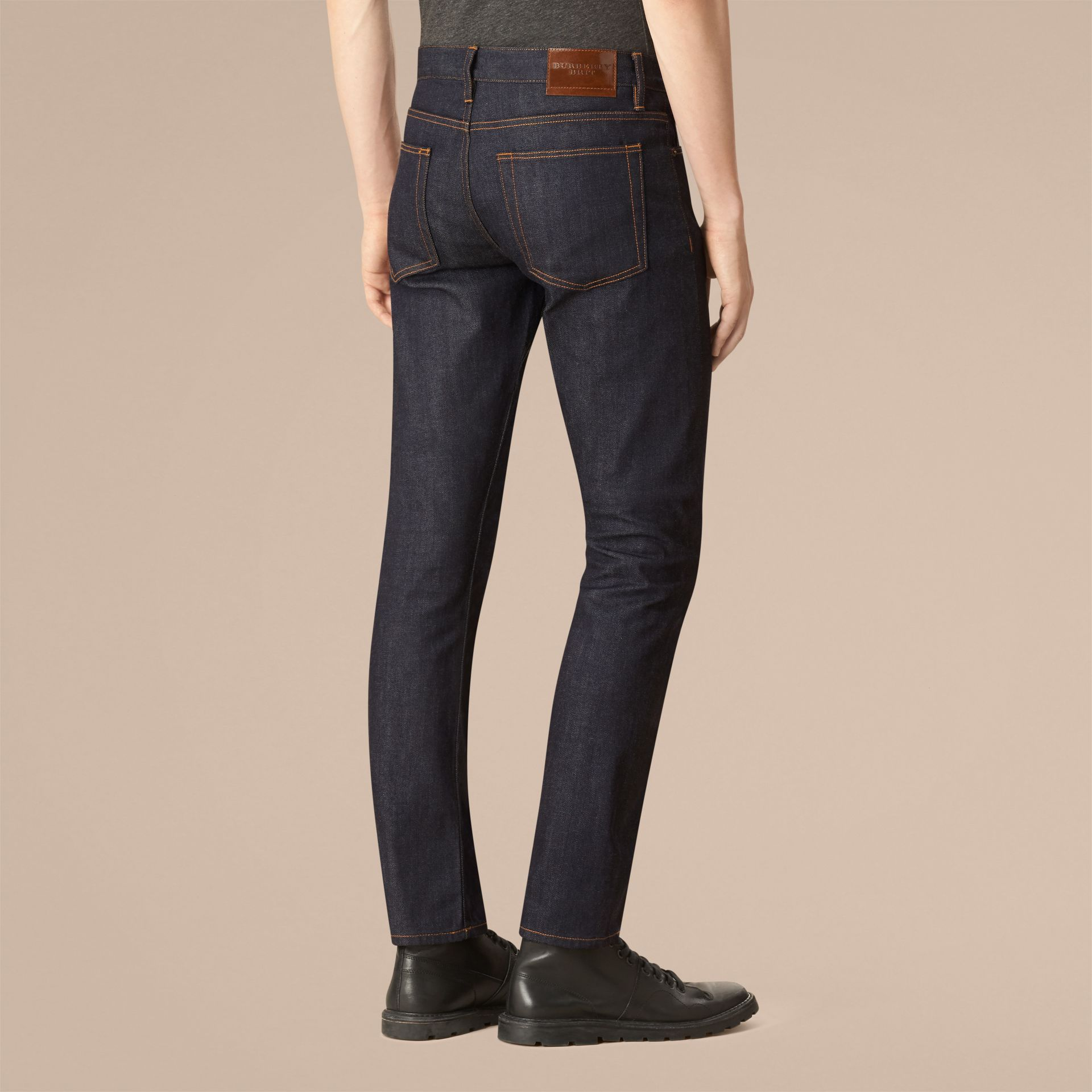 Dark indigo Straight Fit Selvedge Jeans - gallery image 3