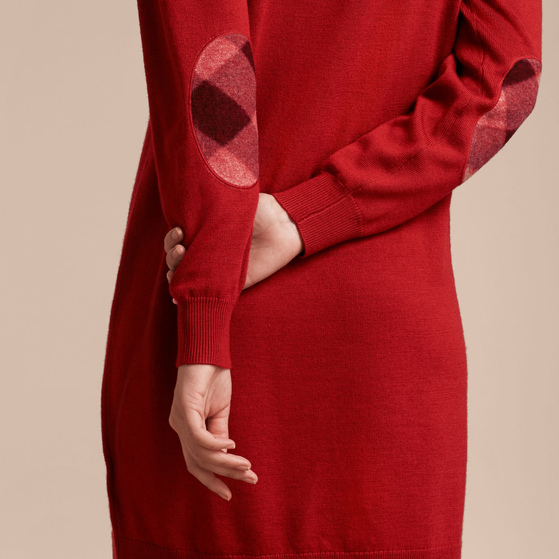 Check Elbow Detail Merino Wool Sweater Dress in Parade Red - gallery image 5
