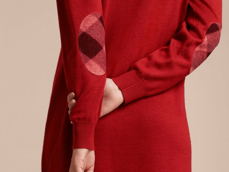 Check Elbow Detail Merino Wool Sweater Dress in Parade Red - cell image 4