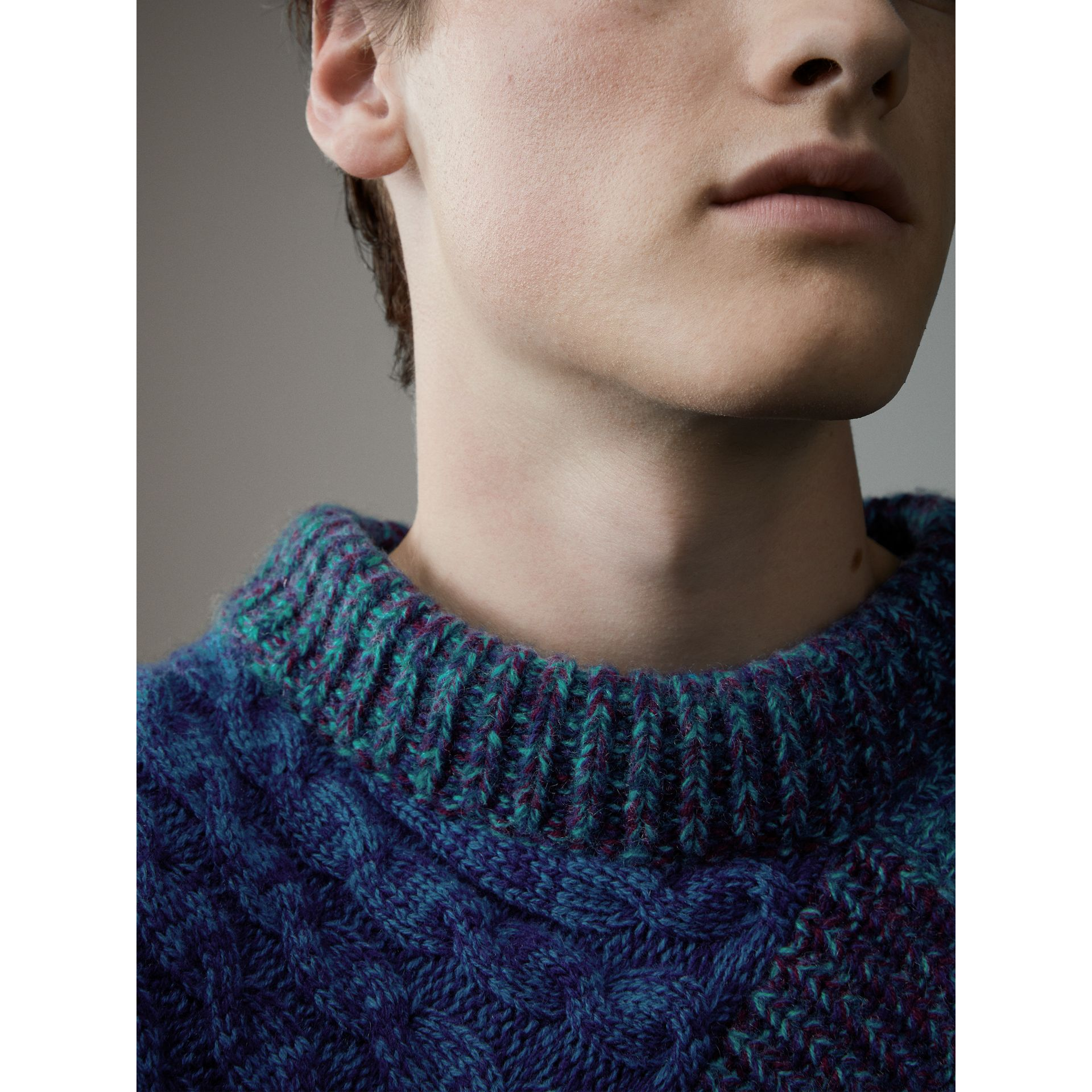 Cashmere Wool Mouliné Patchwork Sweater in Hydrangea Blue - Men | Burberry - gallery image 2