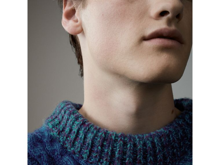 Cashmere Wool Mouliné Patchwork Sweater in Hydrangea Blue - Men | Burberry - cell image 1