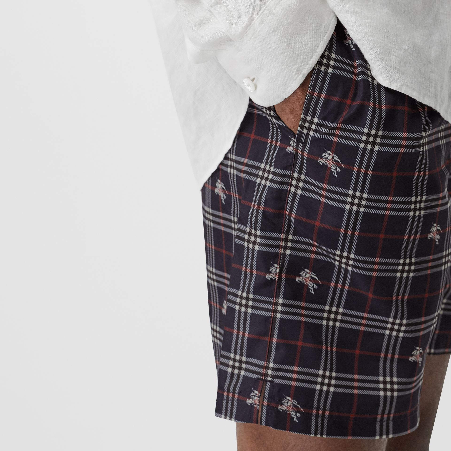 Equestrian Knight Check Drawcord Swim Shorts in Navy - Men | Burberry - gallery image 1