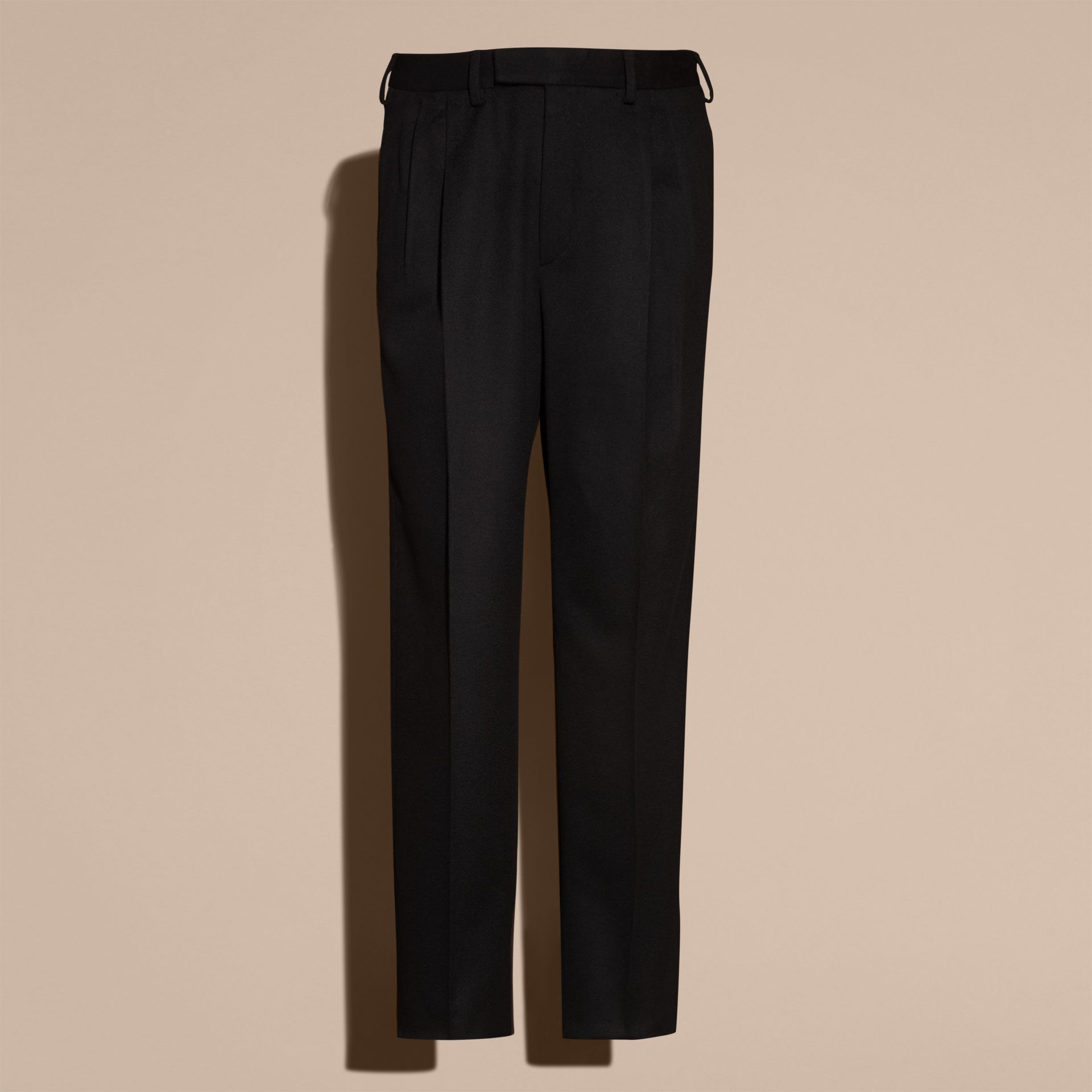 Navy black Wide-leg English Moleskin Wool Trousers - gallery image 4