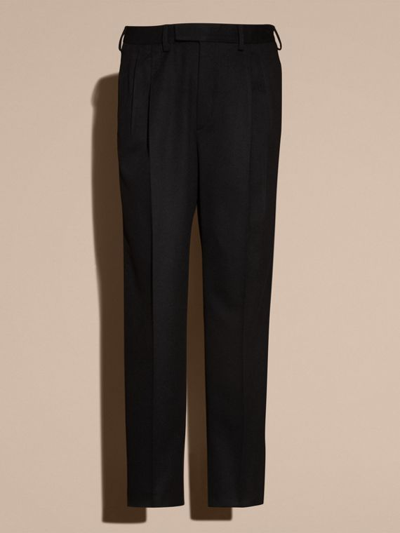 Navy black Wide-leg English Moleskin Wool Trousers - cell image 3