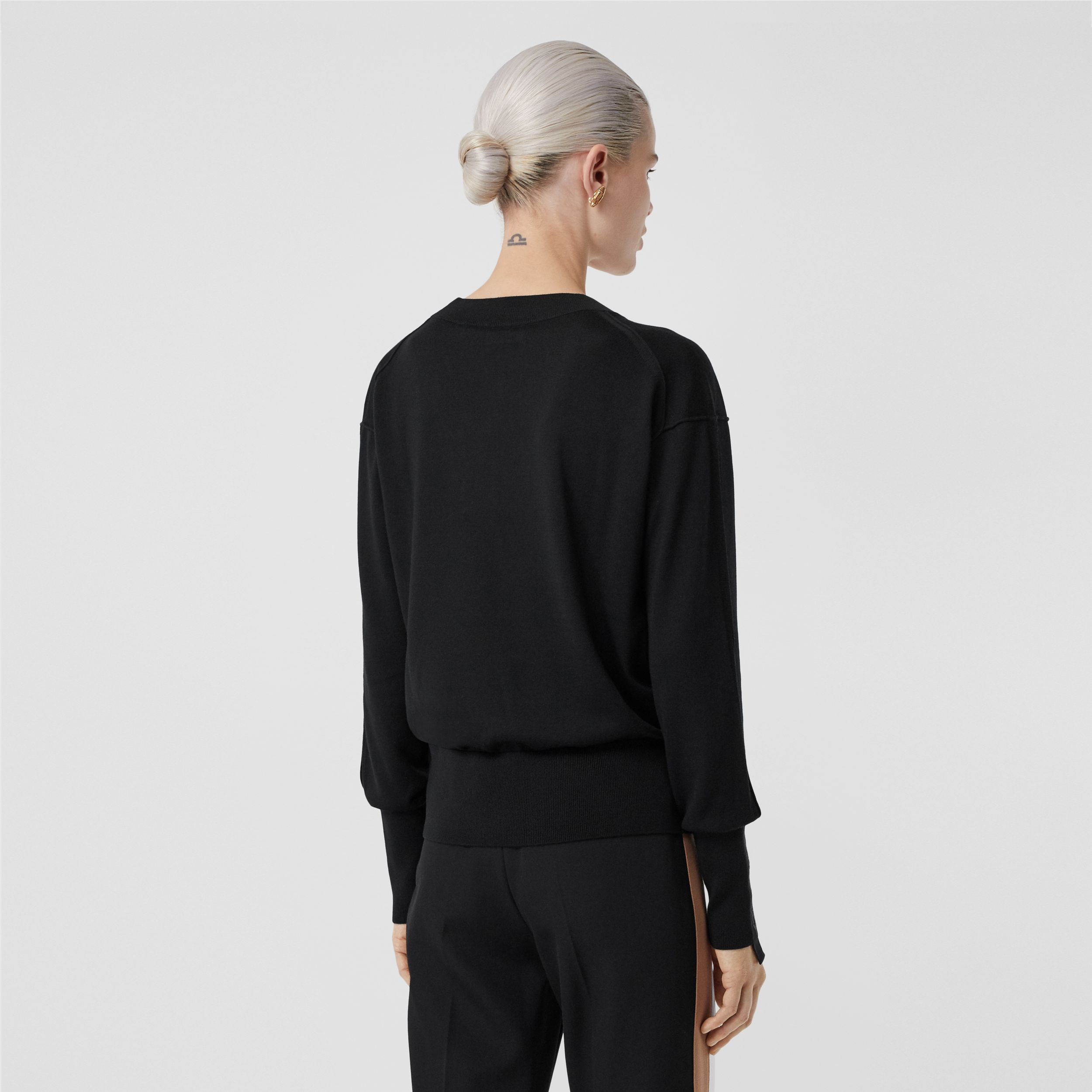 Logo Detail Merino Wool Silk Sweater in Black - Women | Burberry - 3