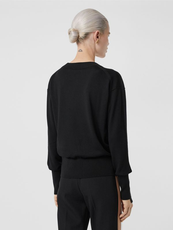 Logo Detail Merino Wool Silk Sweater in Black - Women | Burberry Canada - cell image 2