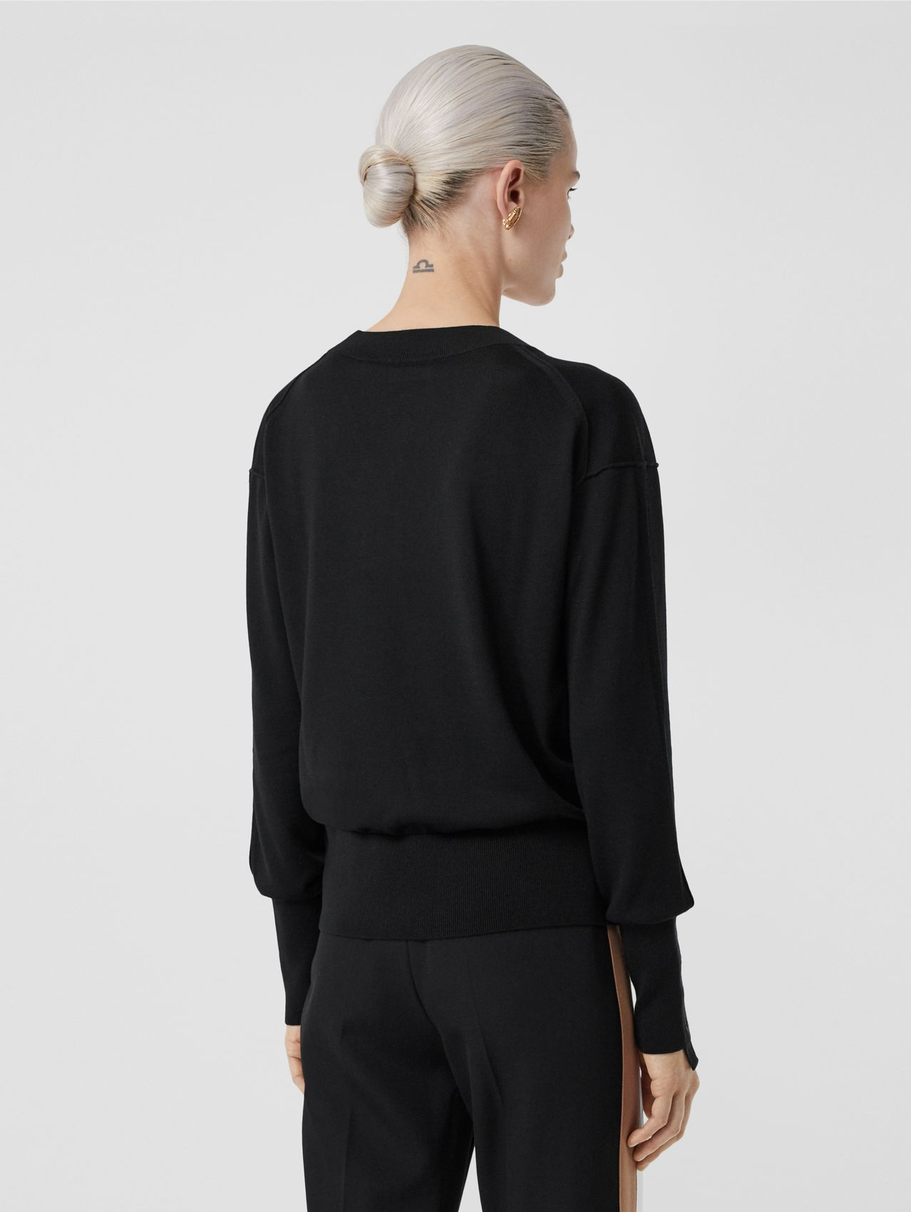 Logo Detail Merino Wool Silk Sweater (Black)