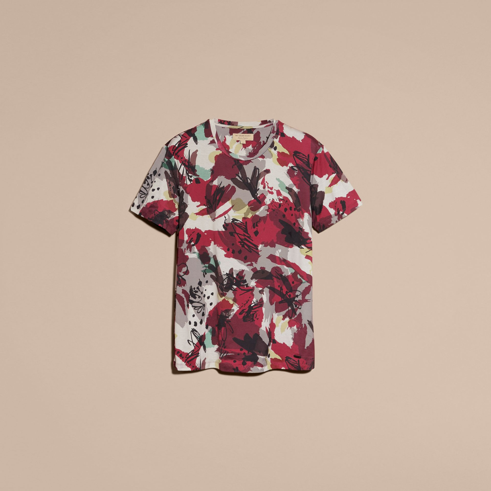Parade red Abstract Floral Print Cotton T-shirt - gallery image 4