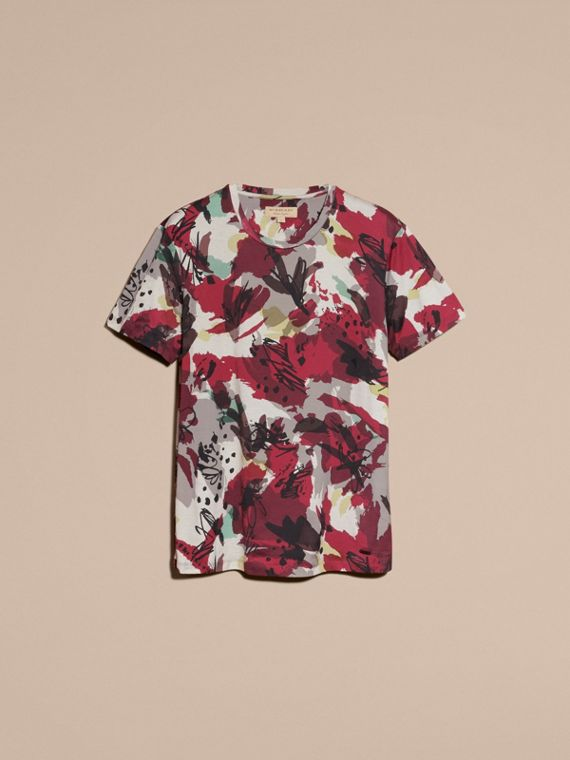 Parade red Abstract Floral Print Cotton T-shirt - cell image 3
