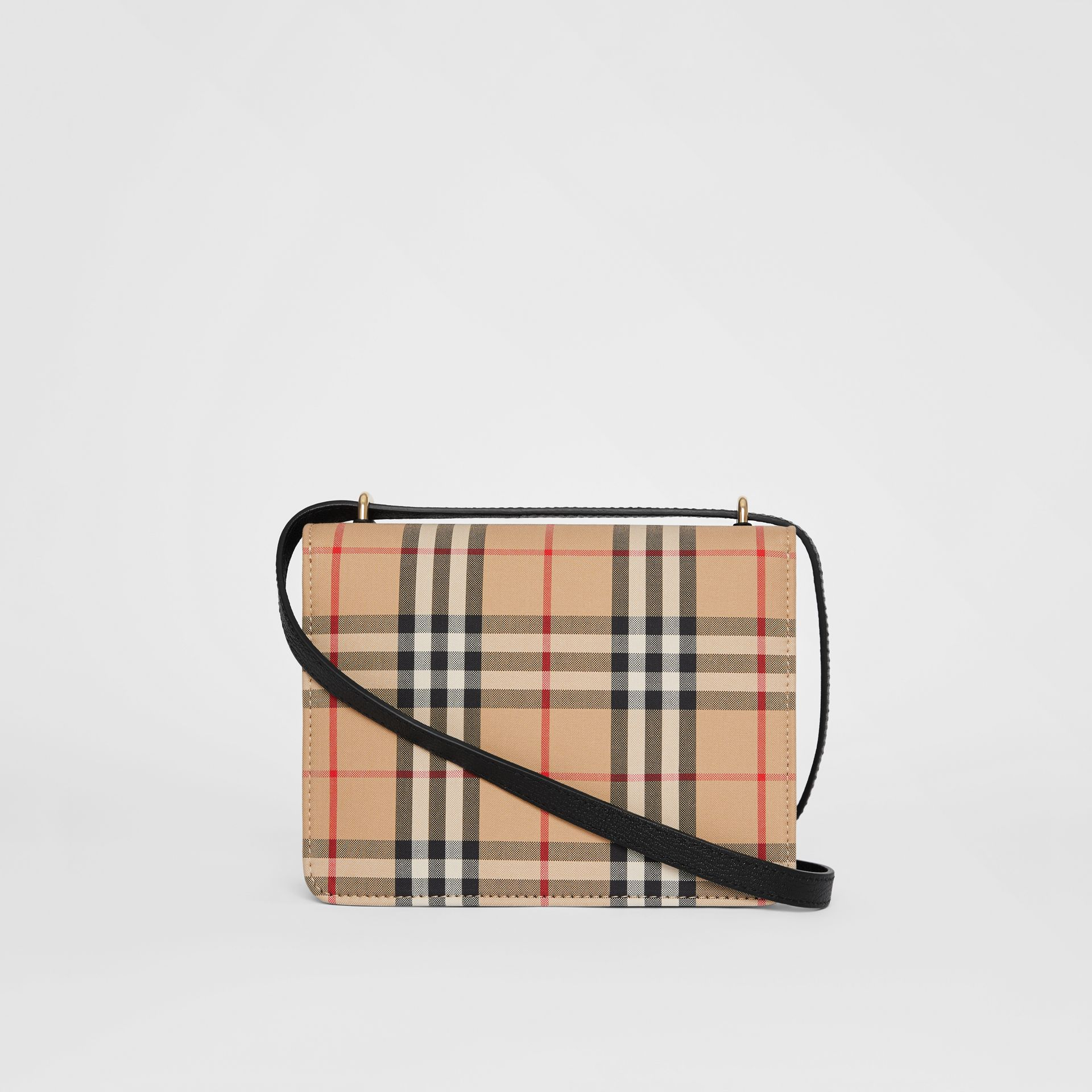 The Small Vintage Check and Leather D-ring Bag in Black - Women | Burberry United States - gallery image 10