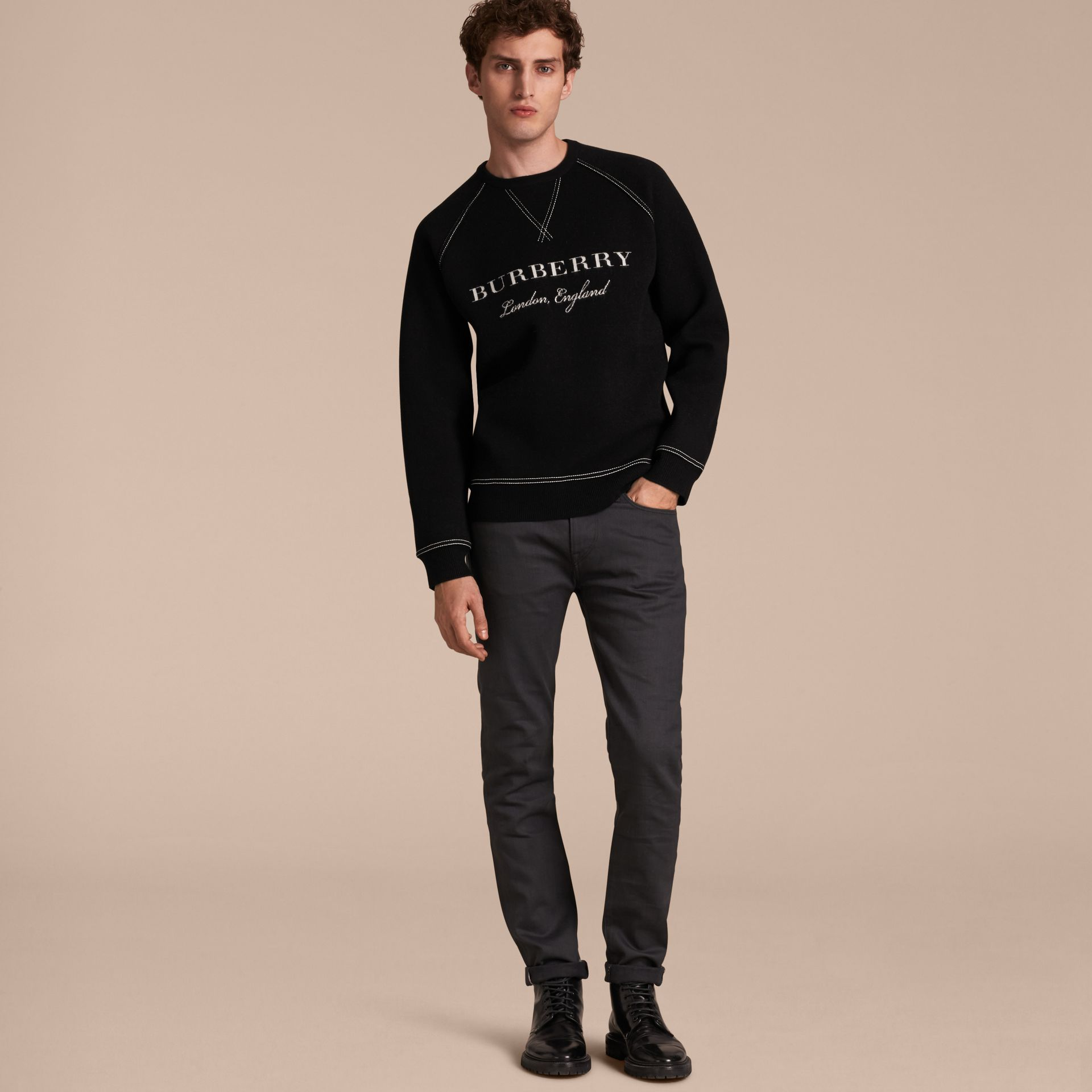 Topstitch Detail Wool Cashmere Blend Sweatshirt Black - gallery image 6