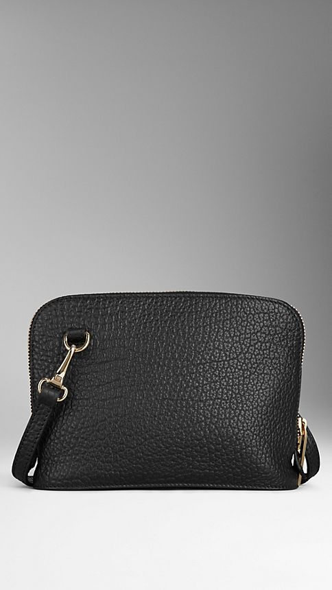 Black Small Signature Grain Leather Crossbody Bag - Image 3