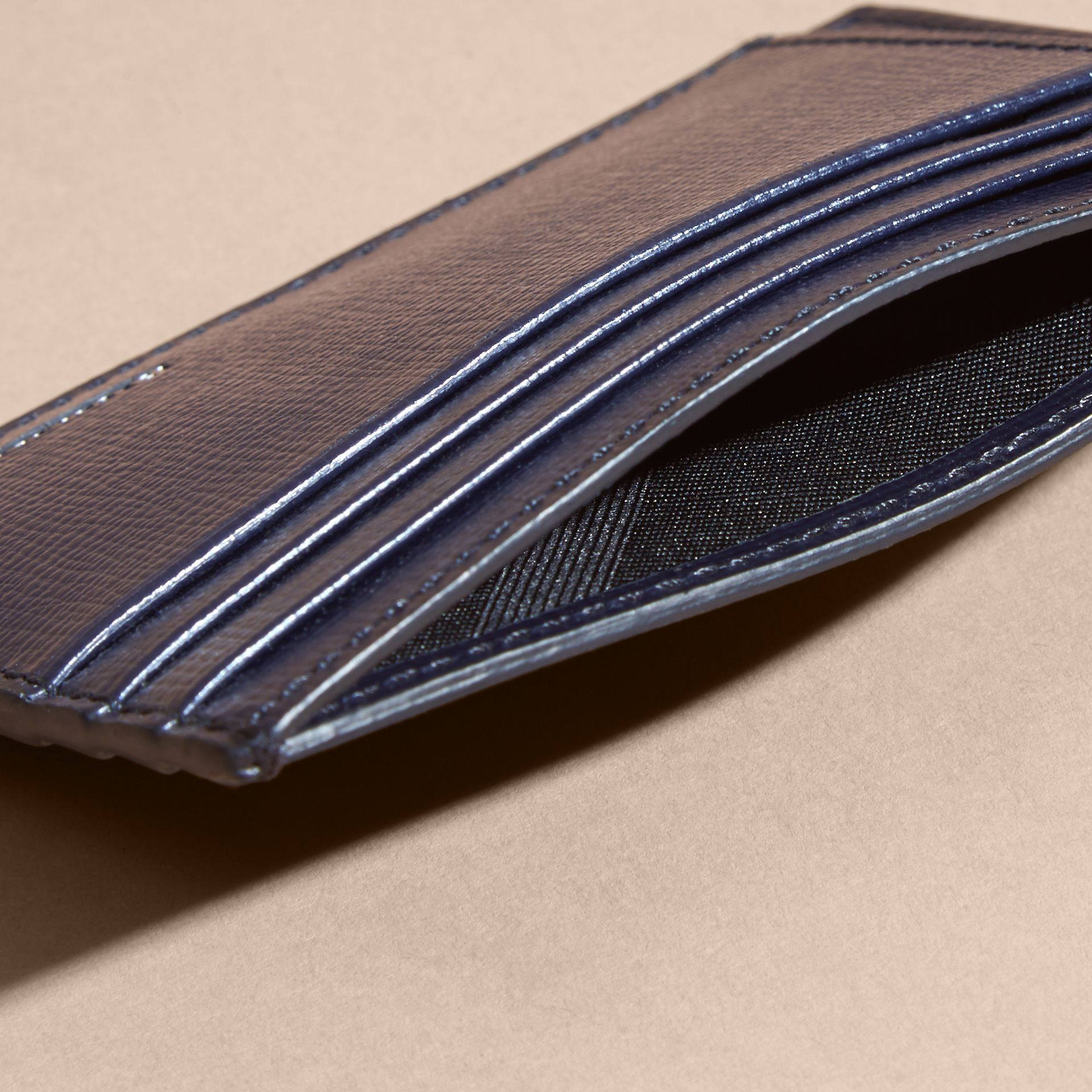 London Leather Card Case in Dark Navy | Burberry - gallery image 5