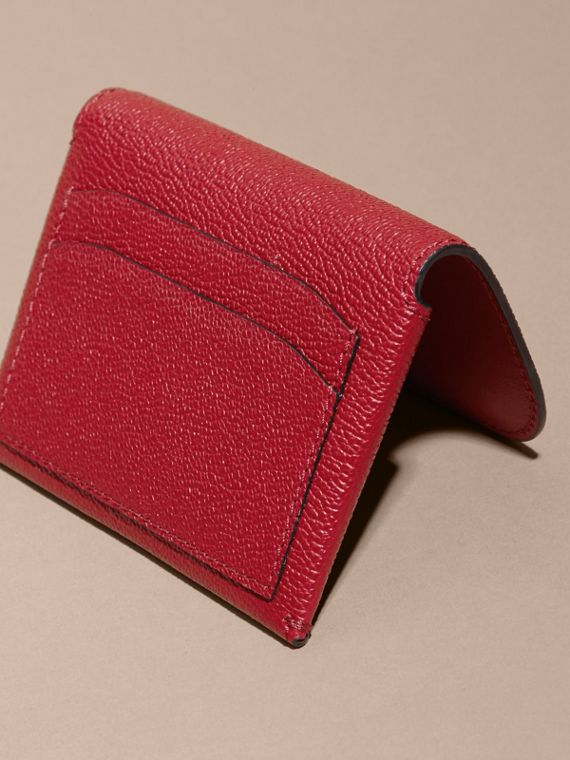 Leather Coin Case with Removable Card Compartment in Parade Red - Women | Burberry - cell image 3