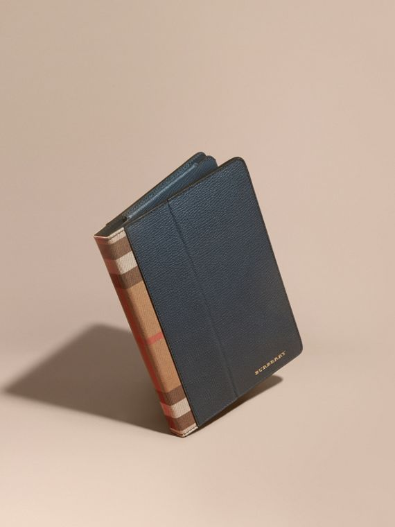 Grainy Leather and House Check iPad Case Storm Blue