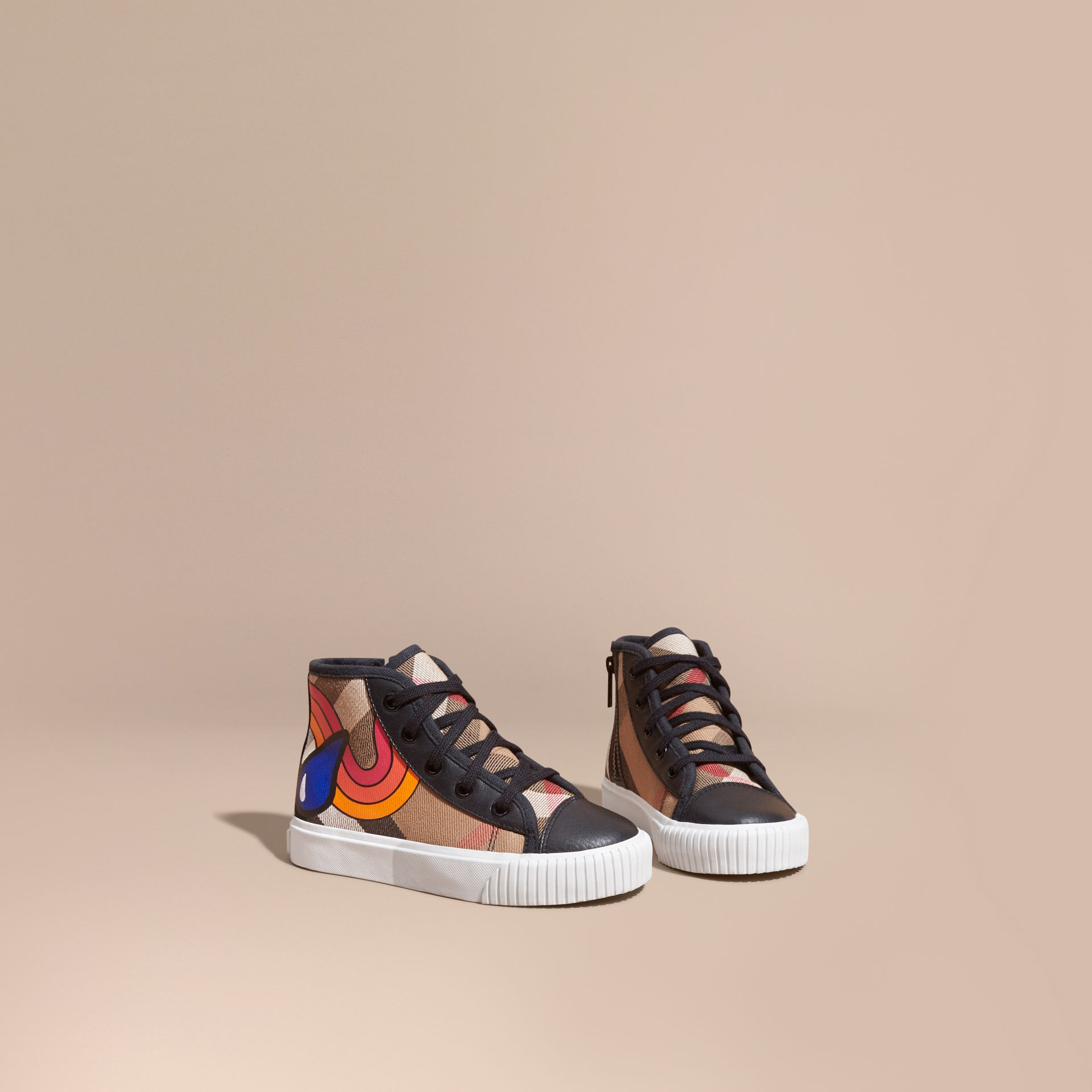 House check/black Printed House Check High-top Trainers - gallery image 1