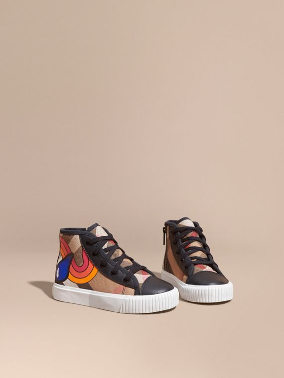 Printed House Check High-top Trainers