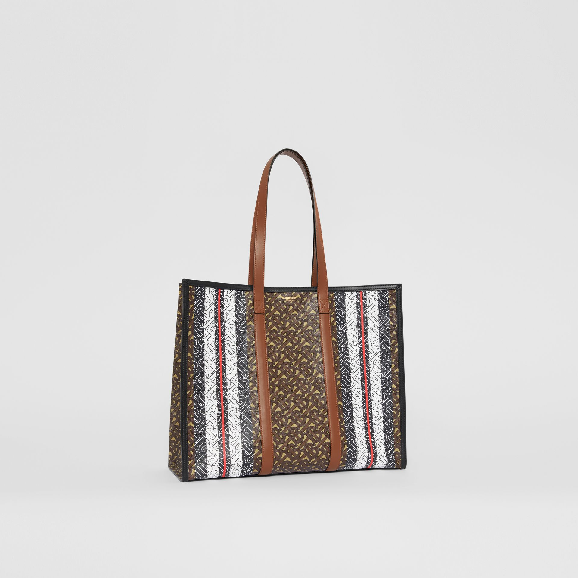 Small Monogram Stripe E-canvas Tote Bag in Bridle Brown - Women | Burberry - gallery image 8
