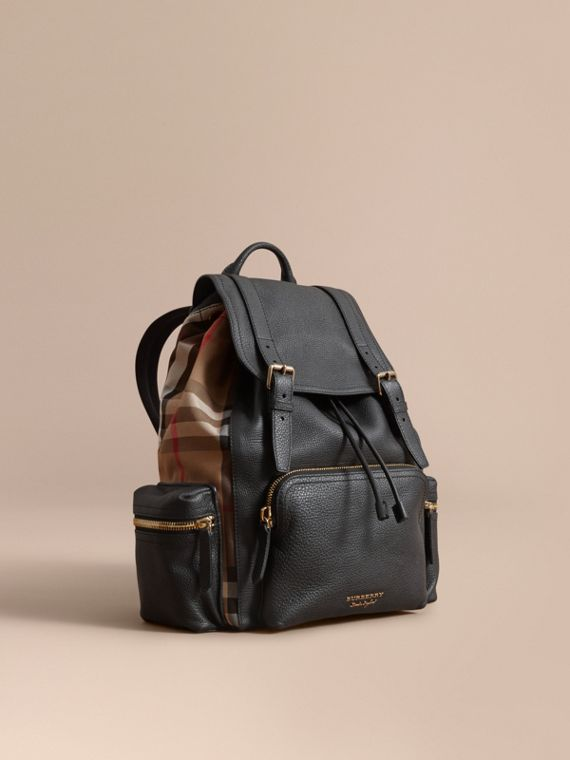 The Large Rucksack in Grainy Leather and House Check