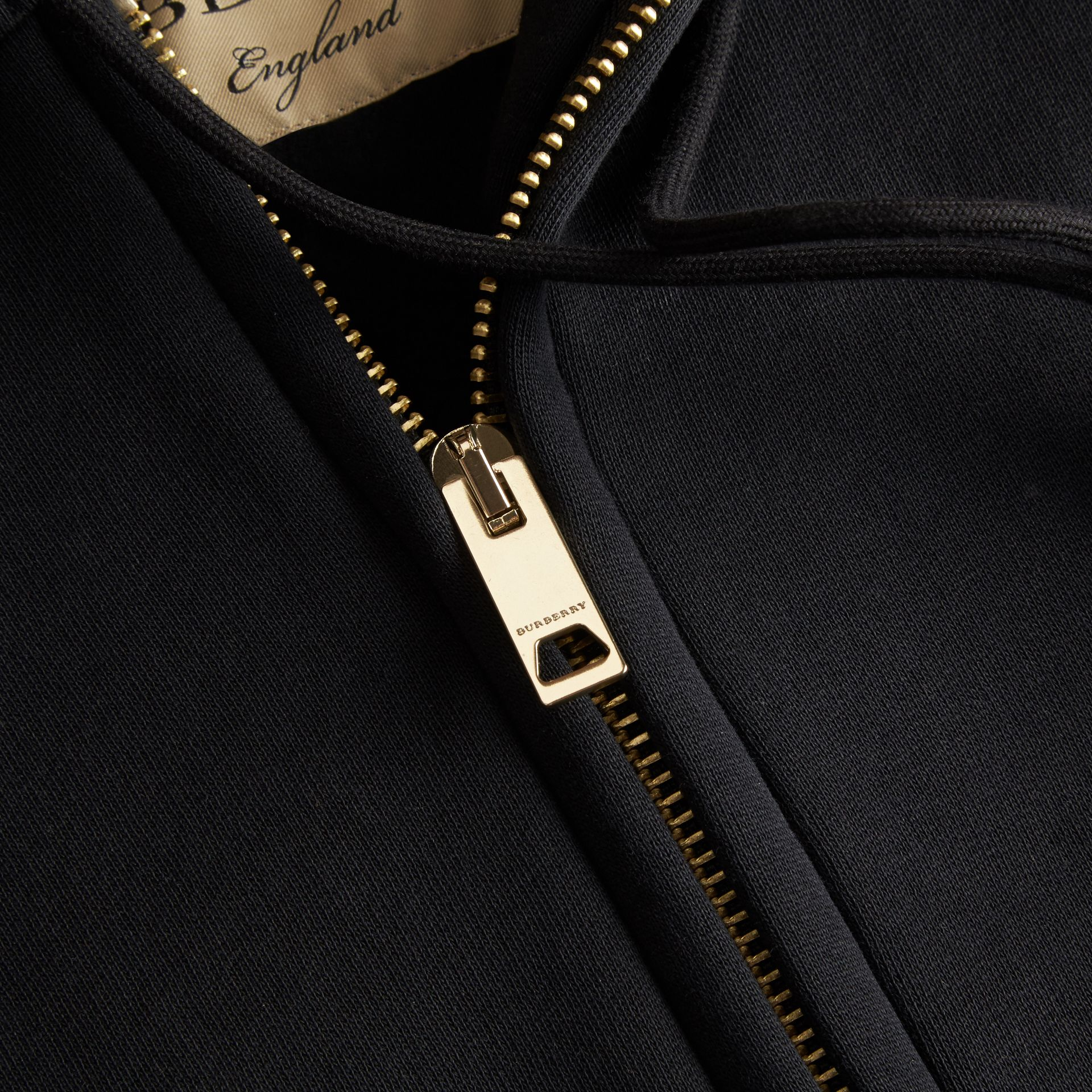 Hooded Zip-front Cotton Blend Sweatshirt in Black - gallery image 2
