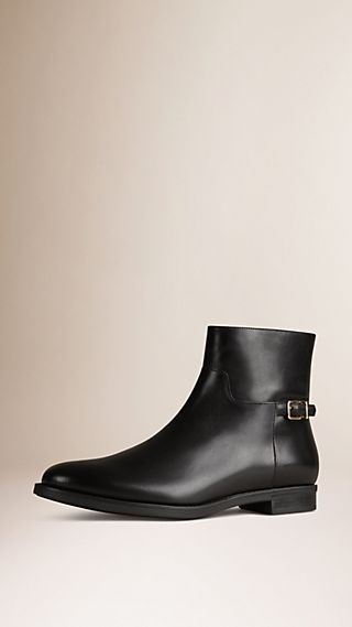 Buckle Detail Leather Ankle Boot