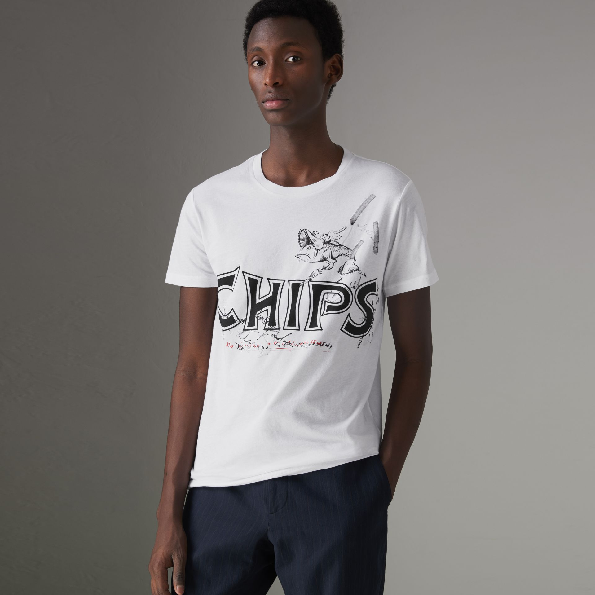 Fish and Chips Print Cotton T-shirt in White - Men | Burberry United States - gallery image 0