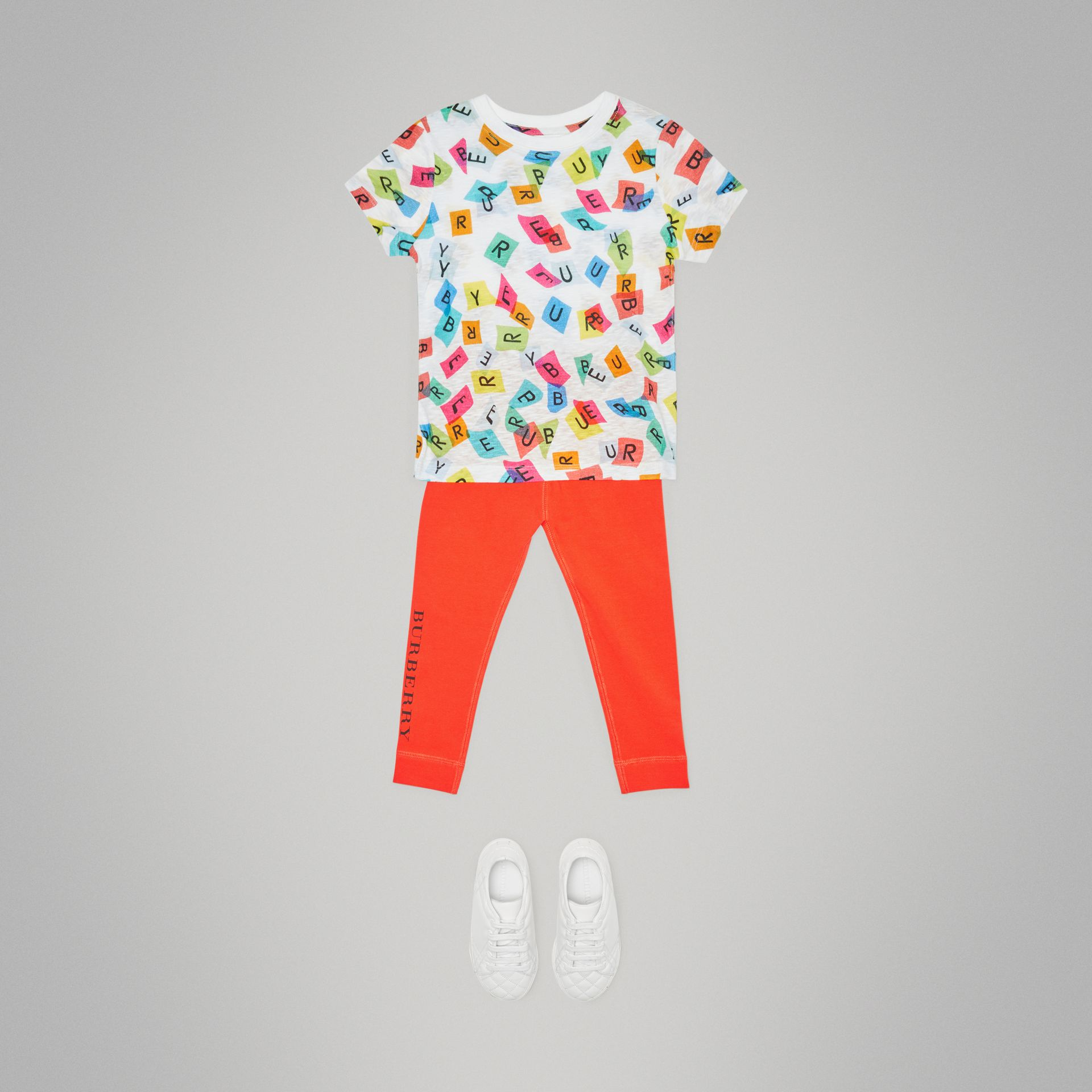 Confetti Letter Print Cotton T-shirt in White | Burberry - gallery image 2