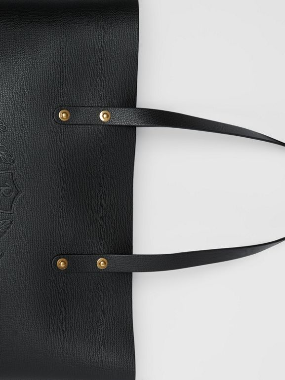 Embossed Crest Leather Tote in Black | Burberry - cell image 1