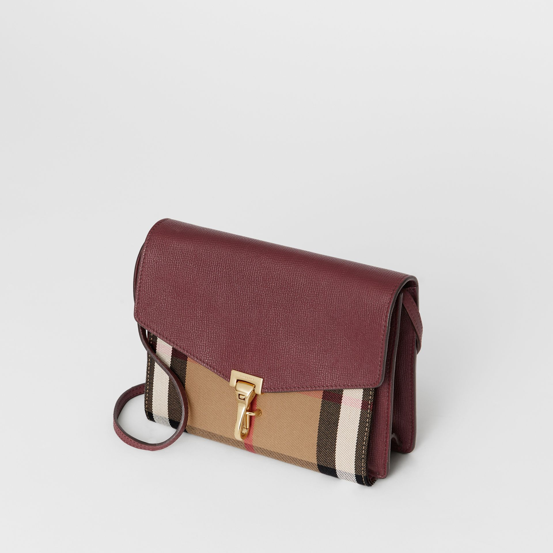Small Leather and House Check Crossbody Bag in Mahogany Red - Women | Burberry - gallery image 4