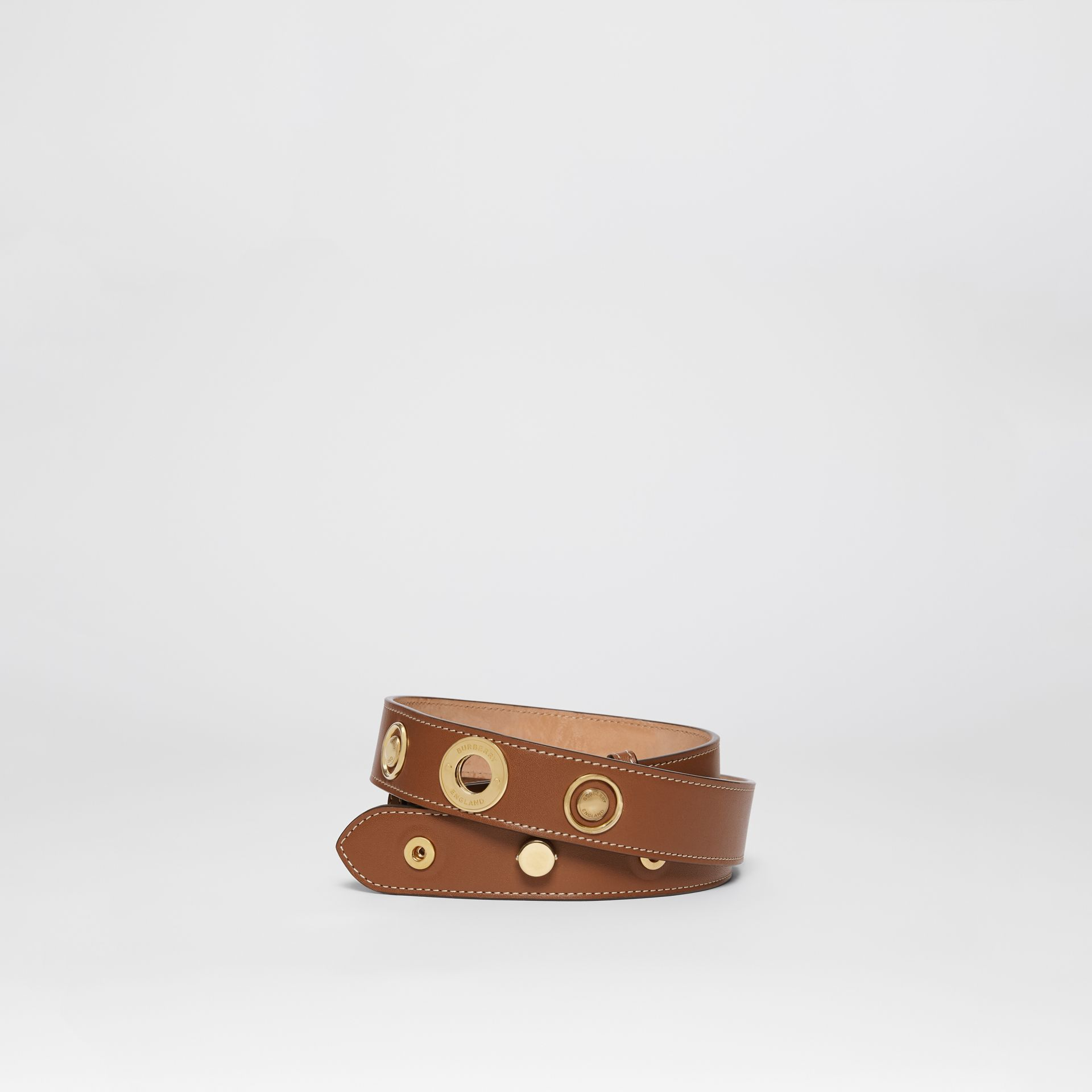 Triple Stud Leather Belt in Tan - Women | Burberry - gallery image 0