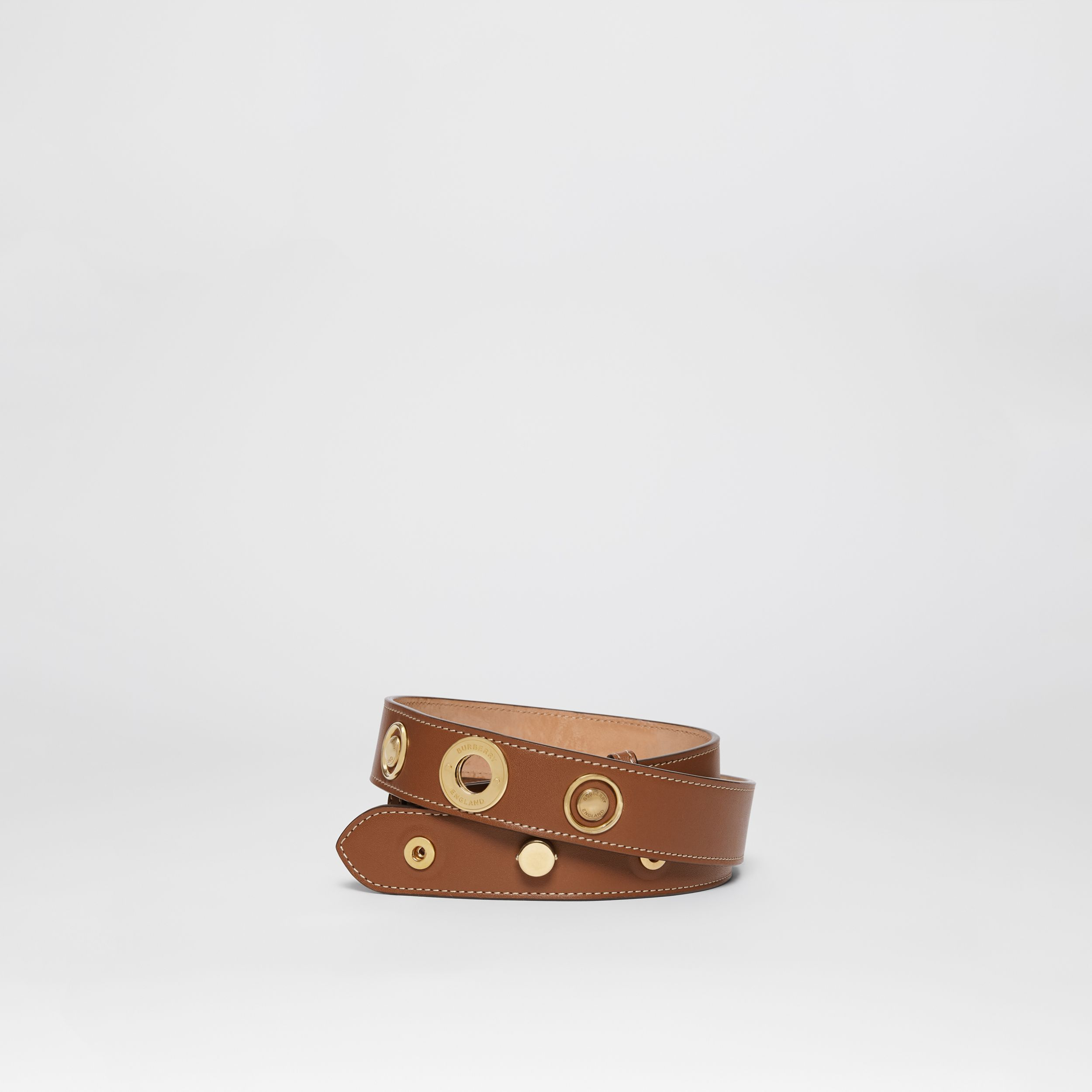 Triple Stud Leather Belt in Tan | Burberry Singapore - 1