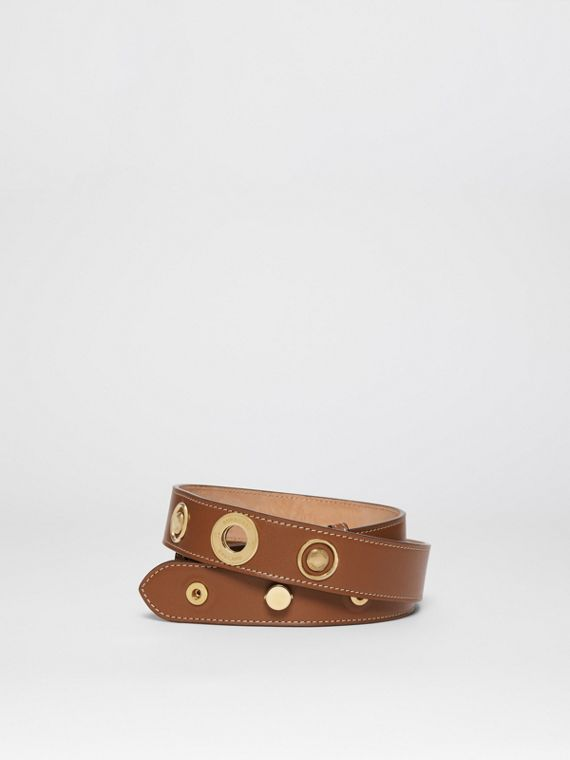 Triple Stud Leather Belt in Tan