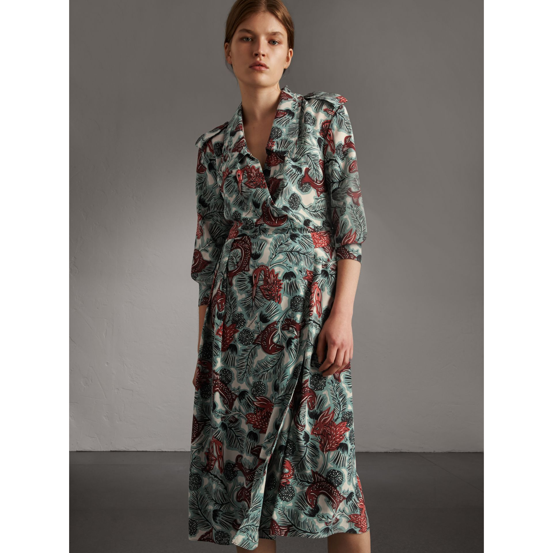 Beasts Print Silk Wrap Dress in Pale Celadon - Women | Burberry - gallery image 5