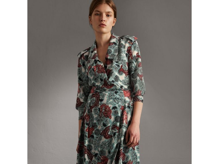 Beasts Print Silk Wrap Dress in Pale Celadon - Women | Burberry - cell image 4