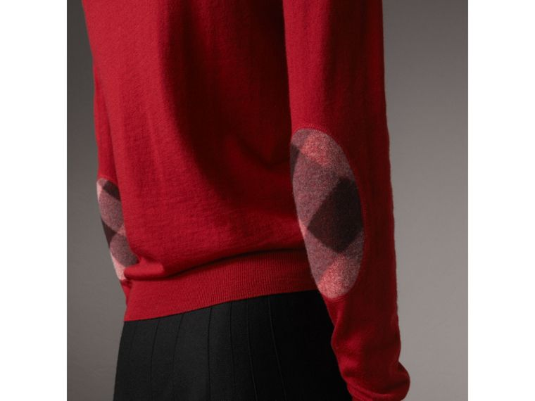 Check Detail Merino Wool Sweater in Parade Red - Women | Burberry - cell image 1