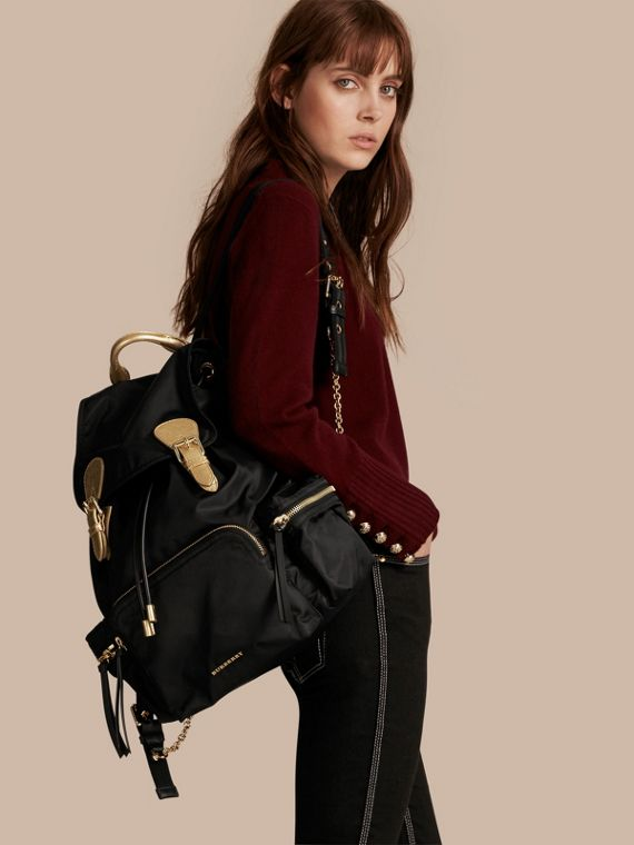 Black/gold The Large Rucksack in Two-tone Nylon and Leather - cell image 2