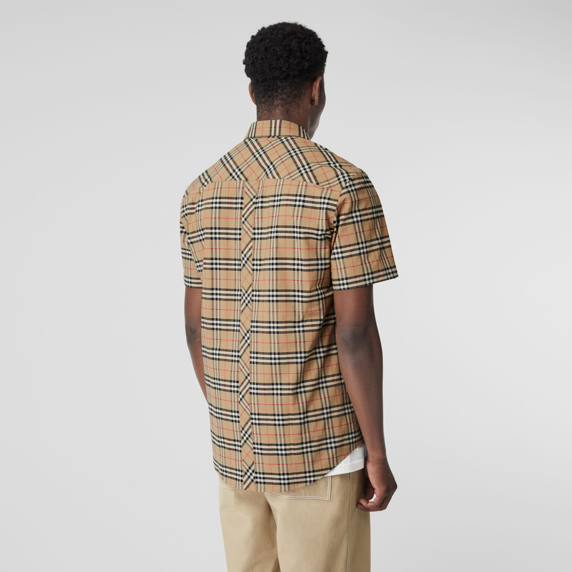 Short-sleeve Small Scale Check Stretch Cotton Shirt in Archive Beige - Men | Burberry Canada - gallery image 2
