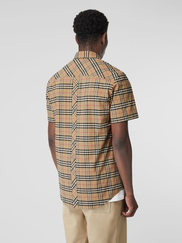 Short-sleeve Small Scale Check Stretch Cotton Shirt in Archive Beige - Men | Burberry Canada - cell image 2