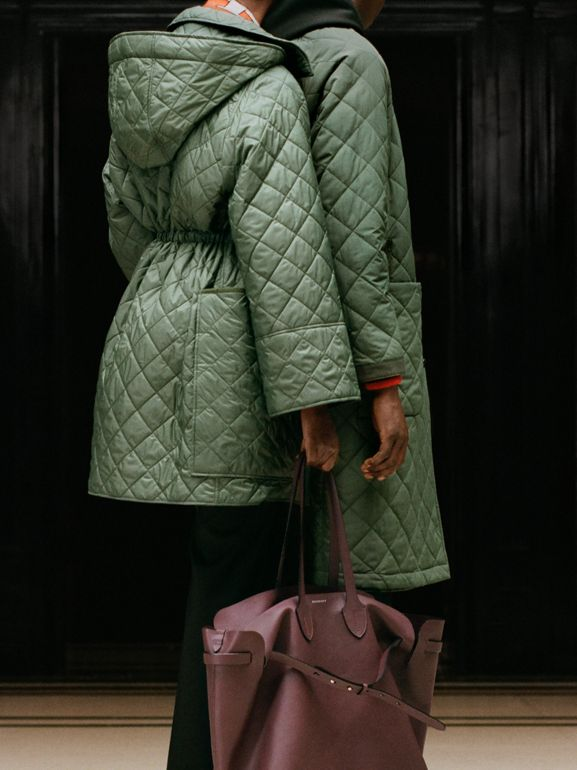 Lightweight Diamond Quilted Hooded Coat in Cadet Green - Women | Burberry - cell image 1