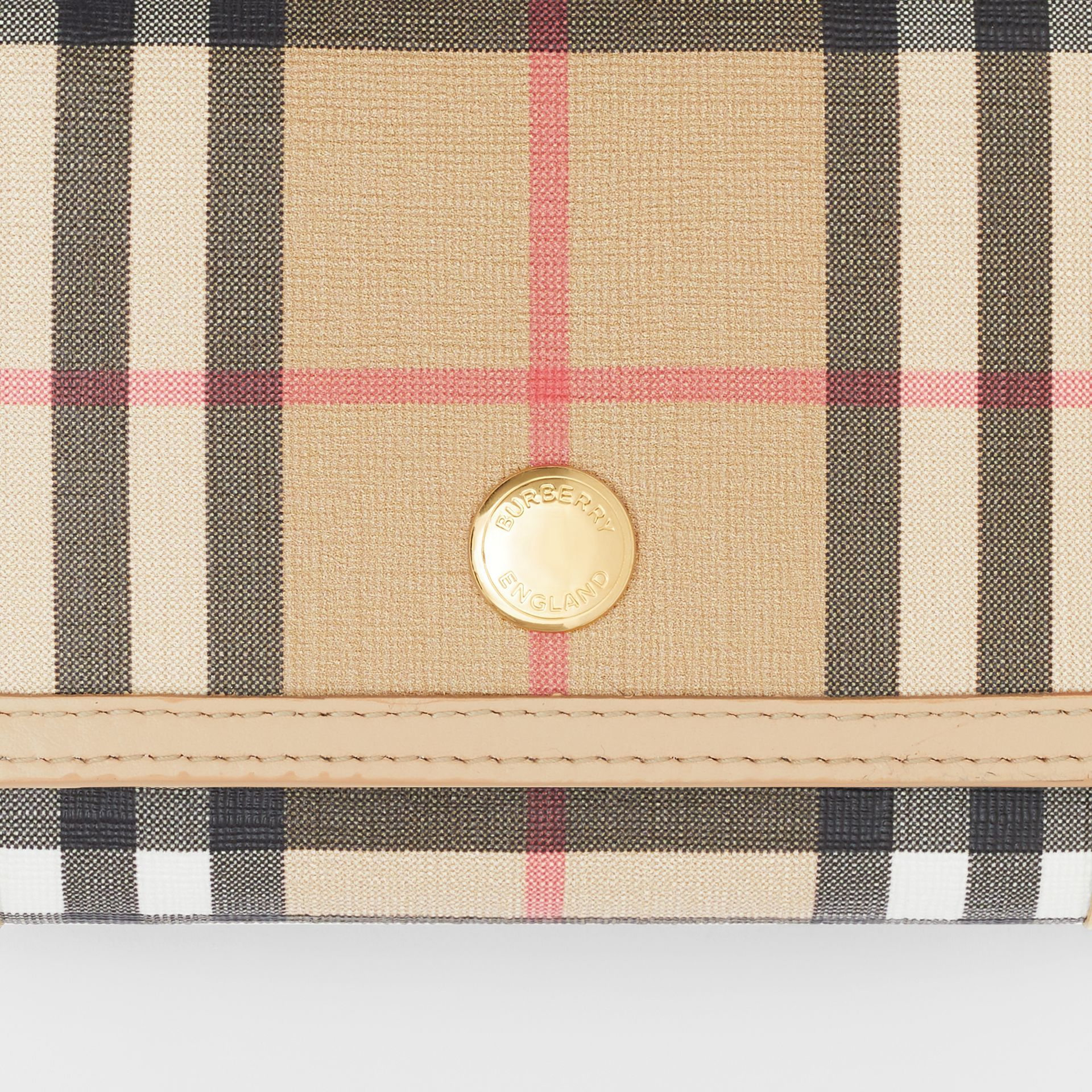 Small Vintage Check E-canvas Folding Wallet in Beige - Women | Burberry - gallery image 1