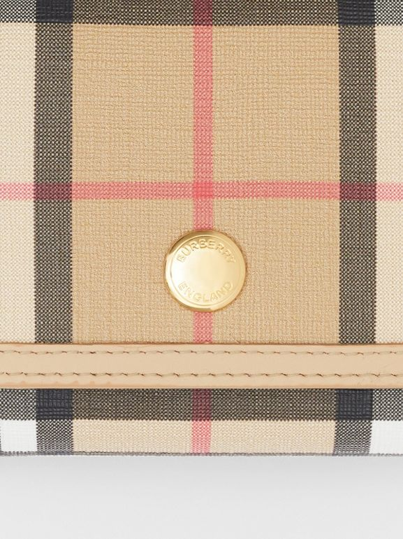 Small Vintage Check E-canvas Folding Wallet in Beige - Women | Burberry - cell image 1