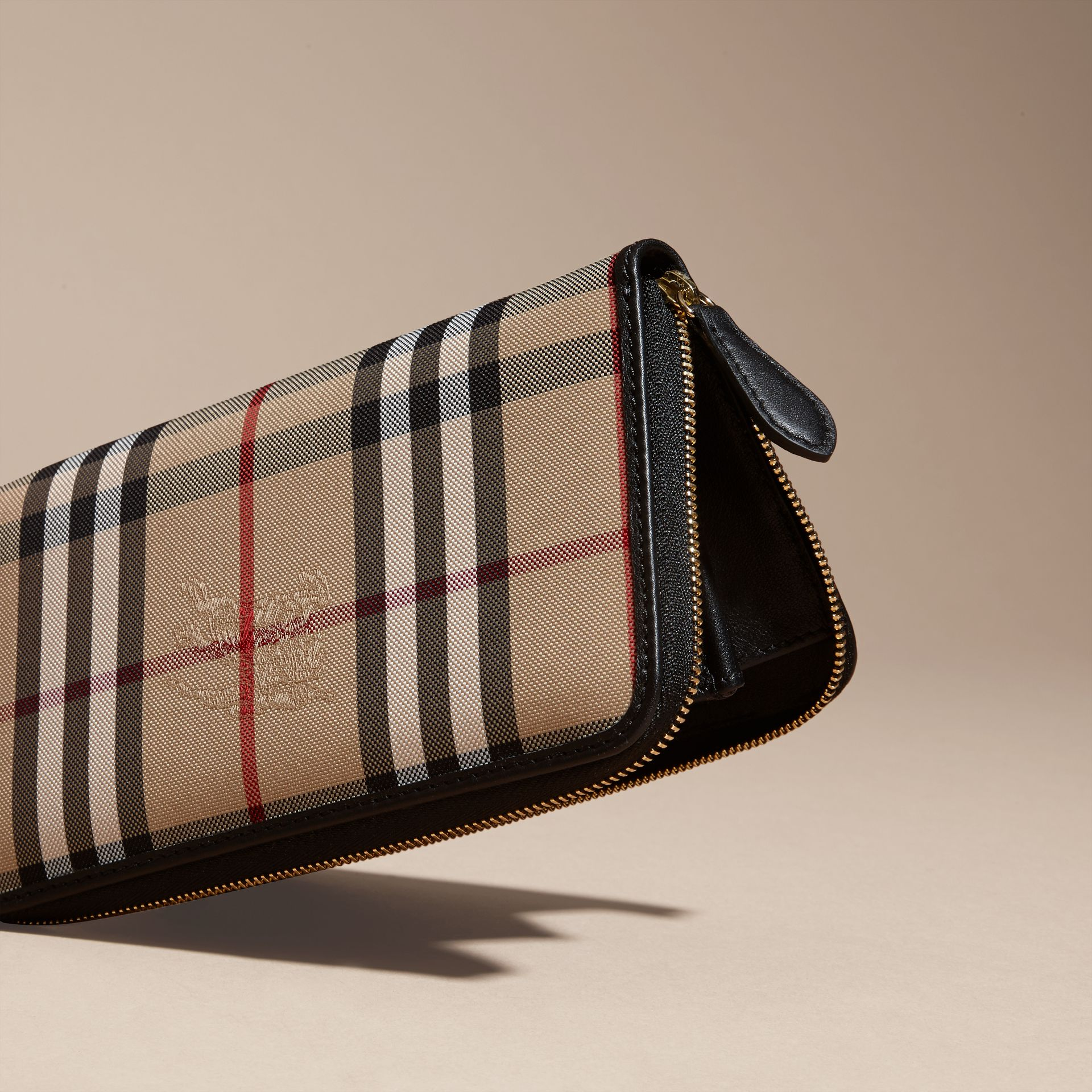 Horseferry Check and Leather Ziparound Wallet in Black - Women | Burberry - gallery image 4