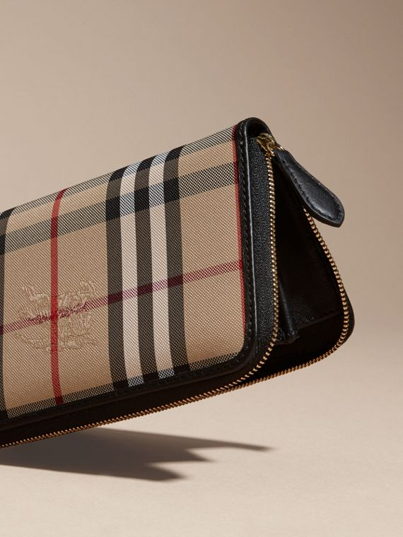 Horseferry Check and Leather Ziparound Wallet in Black - Women | Burberry - cell image 3