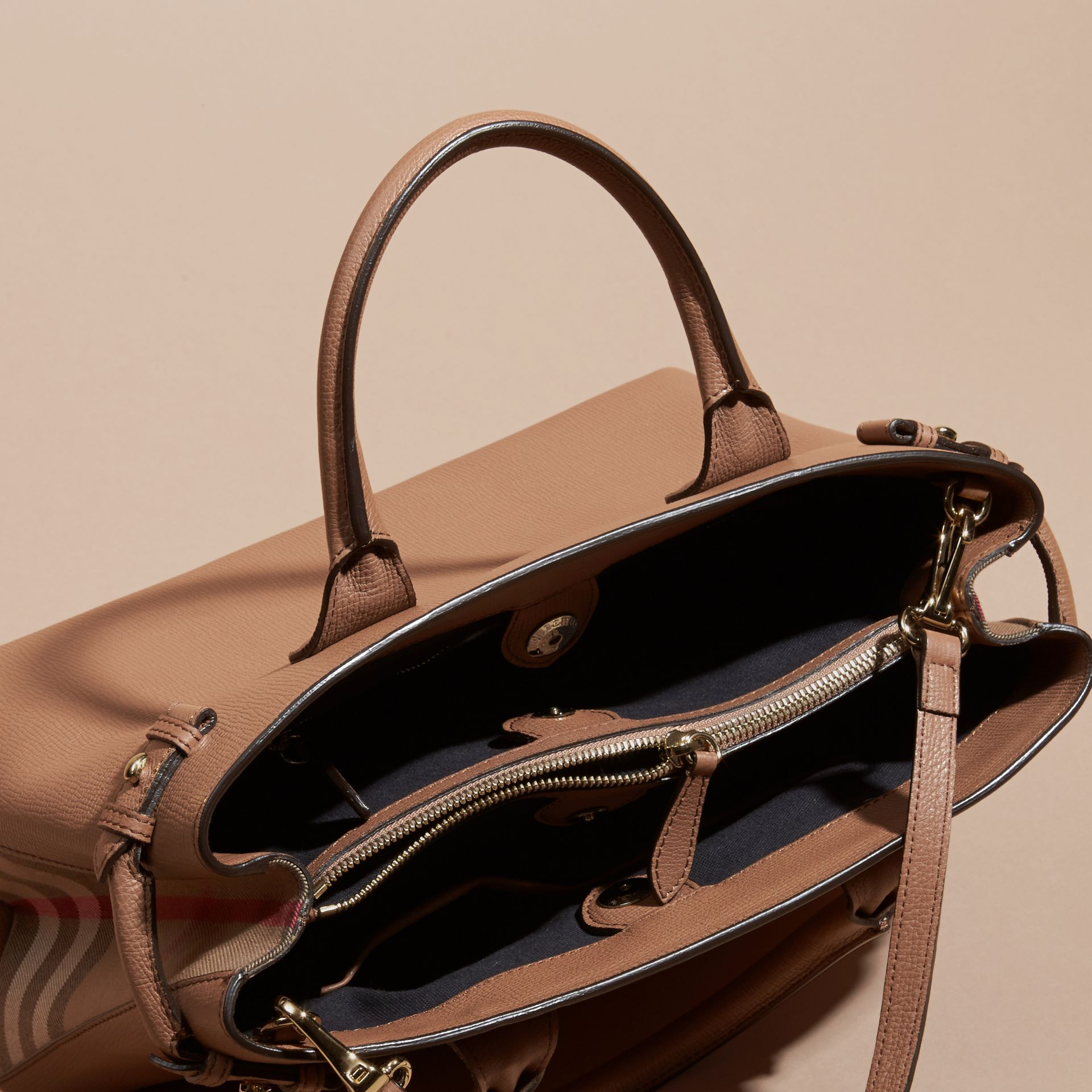 The Medium Banner in Leather and House Check in Dark Sand - Women | Burberry - gallery image 6